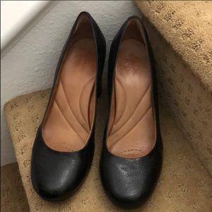 Clark's Indigo Womens Heels Pebbled Leather Black